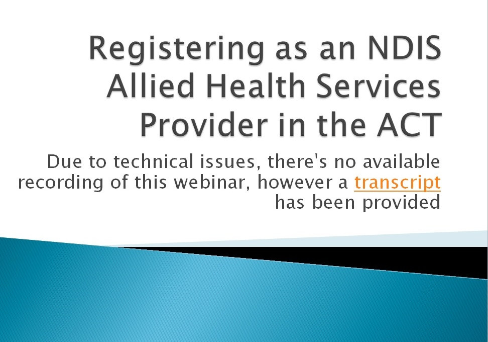 Registering as an NDIS Allied Health Services Provider in the ACT