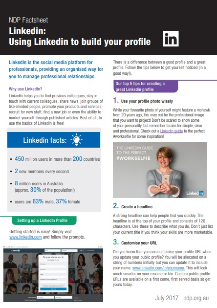 Factsheet Using LinkedIn To Build Your Profile Image