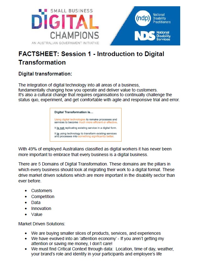 Introduction to Digital Transformation Session 1 Factsheet