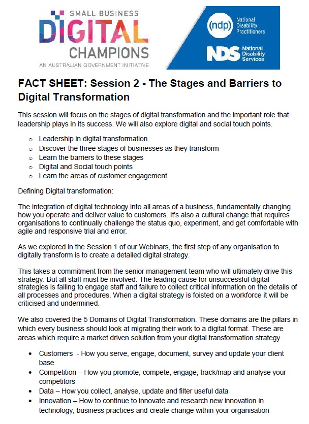 Session 2 The Stages and Barriers to Digital Transformation